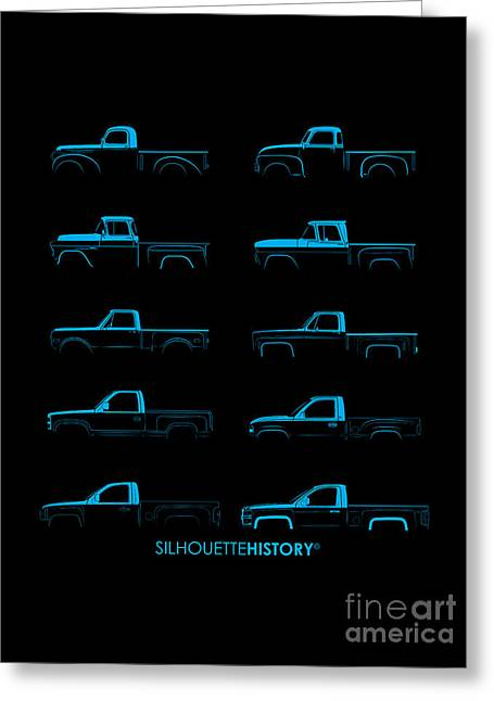 Fullsize Pickup Silhouettehistory Greeting Card by Balazs Iker
