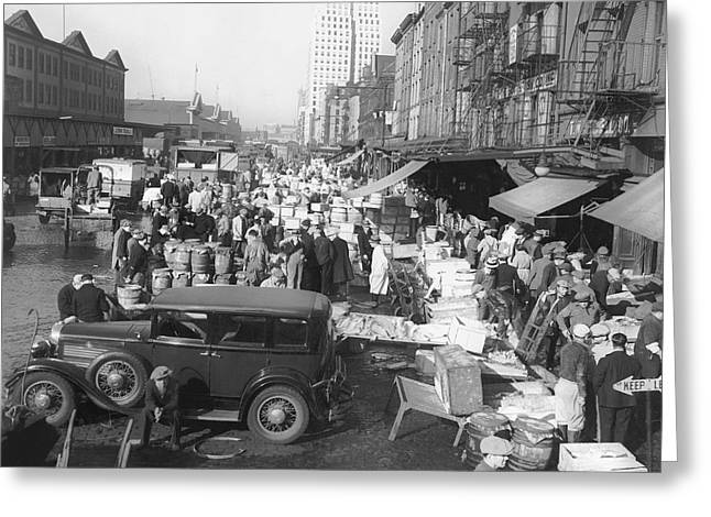 Fulton Fish Market Greeting Card by Underwood Archives