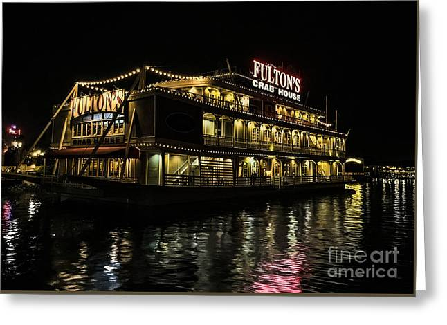 Fulton's Crab House Night Lights Greeting Card by Gary Keesler