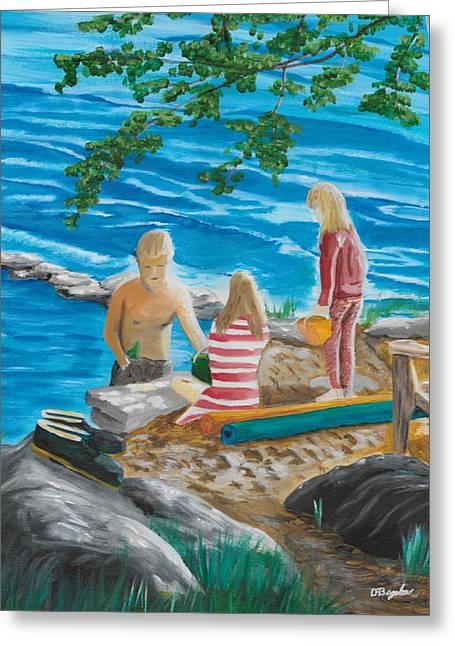 Fun At The Beach Greeting Card by David Bigelow