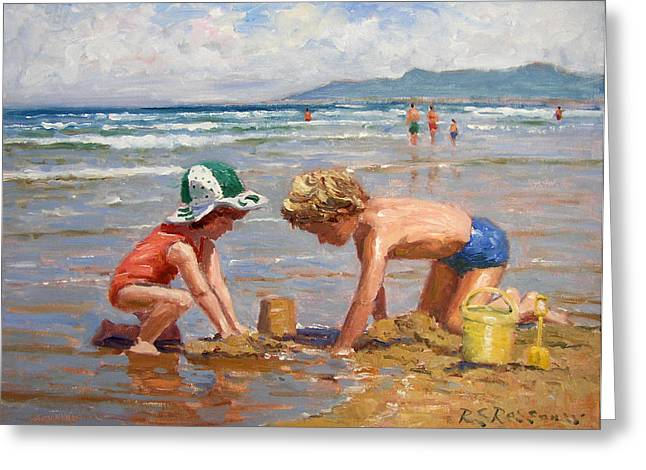 Fun At The Beach Greeting Card by Roelof Rossouw