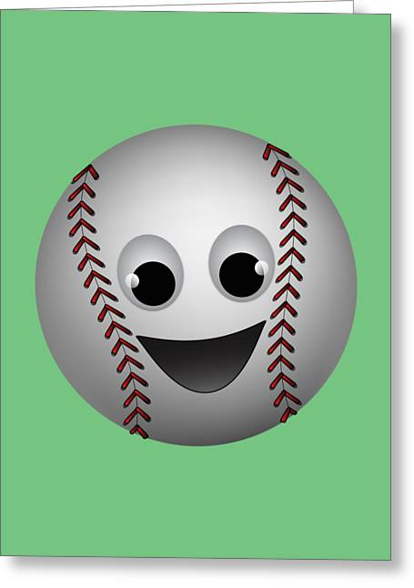 Fun Baseball Character Greeting Card by MM Anderson