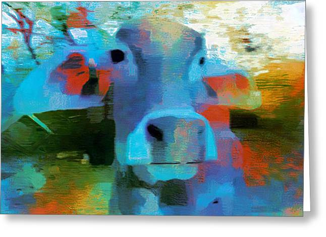Turquoise Abstract Fun Cow Rajasthan India 1a Greeting Card by Sue Jacobi