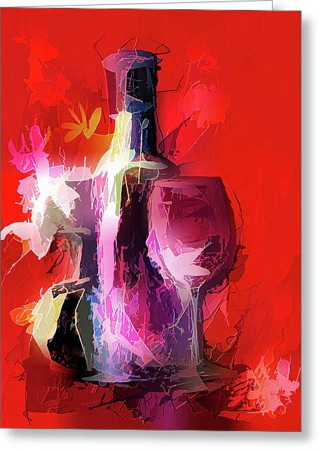 Fun Colorful Modern Wine Art   Greeting Card