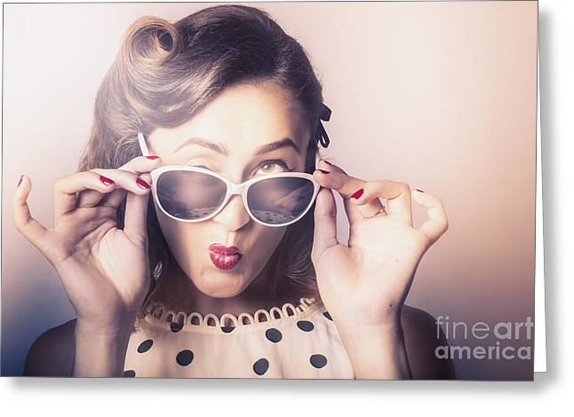 Fun Comical Retro Fashion Portrait. Pin-up Pout Greeting Card by Jorgo Photography - Wall Art Gallery