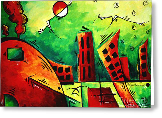 Fun Contemporary Abstract Pop Art Style Cityscape Landscape Evergreen By Madart Greeting Card by Megan Duncanson