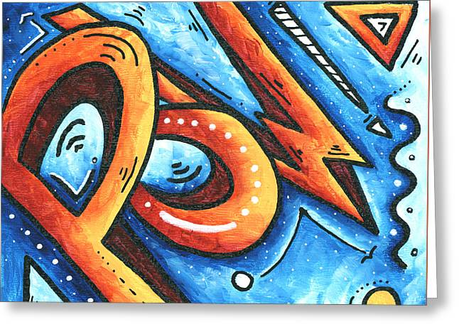 Fun Funky Contemporary Pop Art Pow Hearts And More By Madart Greeting Card Megan Duncanson
