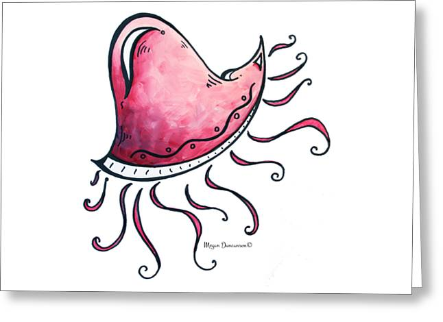 Fun Funky Pink Jellyfish Tropical Icon Painting By Megan Duncanson Greeting Card