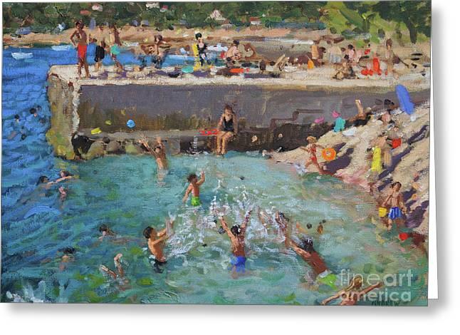 Fun In The Sea, Rovinj, Croatia  Greeting Card by Andrew Macara