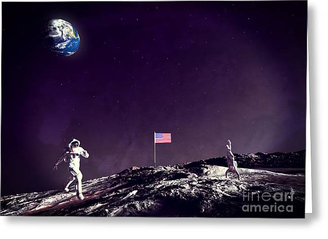 Greeting Card featuring the digital art Fun On The Moon by Methune Hively
