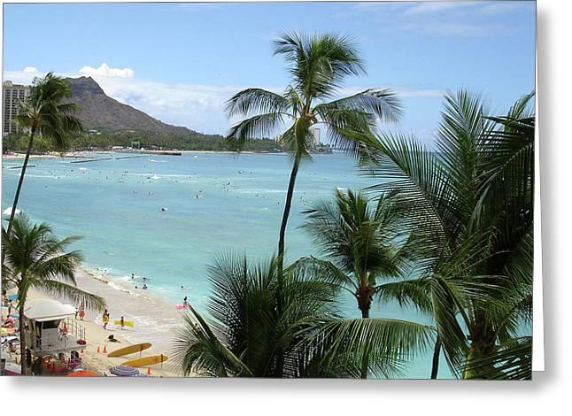 Fun Times On The Beach In Waikiki Greeting Card by Karen Nicholson