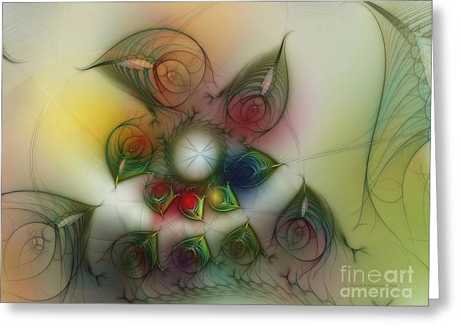 Greeting Card featuring the digital art Fun With Gardening by Karin Kuhlmann