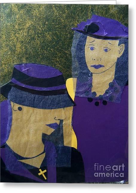 Funeral Masks Greeting Card by Debra Bretton Robinson