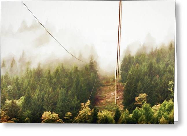 Funicolare View Of Foggy Forest In Alps Greeting Card