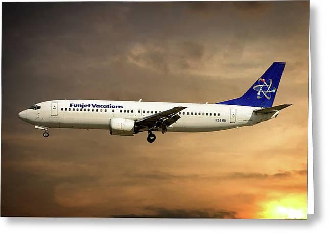 Funjet Vacations Boeing 737-4yo Greeting Card