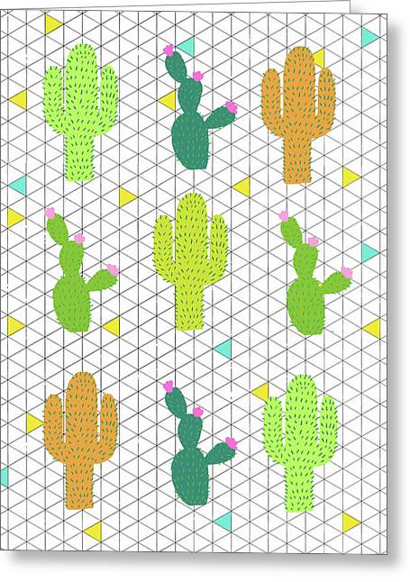 Funky Cactus Greeting Card by Nicole Wilson