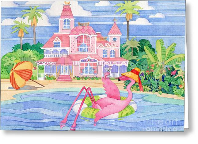 Funky Flamingo Hotel I Greeting Card by Paul Brent
