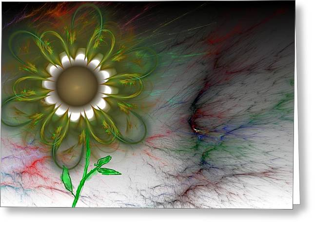 Funky Floral Greeting Card by David Lane