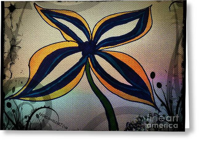 Greeting Card featuring the drawing Funky Flower by Rachel Maynard