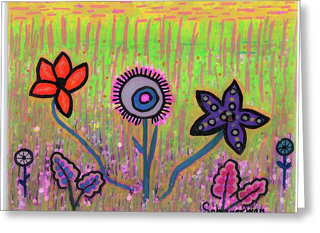 Funky Flowers In A Field Of Green Greeting Card