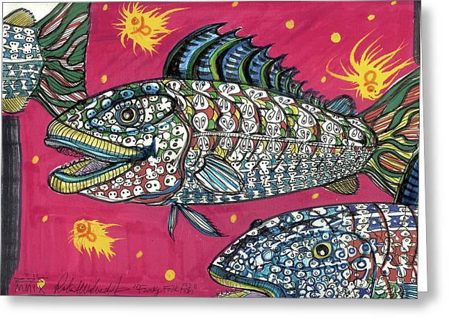 Funky Folk Fish Greeting Card by Robert Wolverton Jr