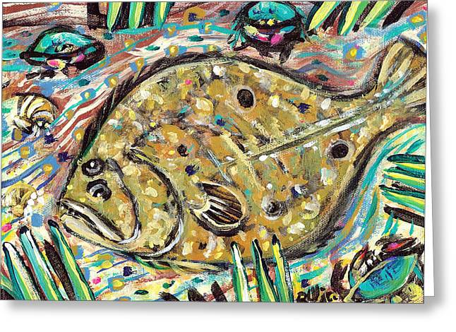 Outsider Art Paintings Greeting Cards - Funky Folk Flounder Greeting Card by Robert Wolverton Jr