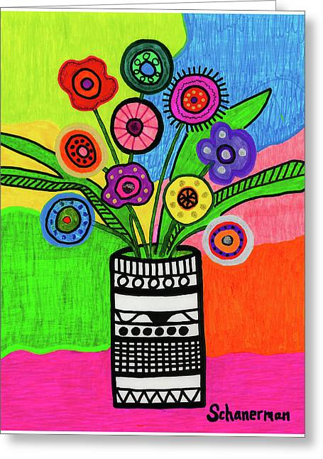 Funky Folk Flowers Greeting Card