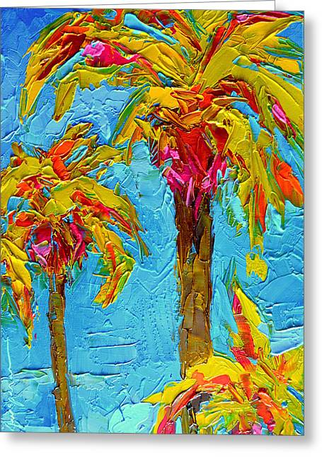 Funky Fun Palm Trees - Modern Impressionist Knife Palette Oil Painting Greeting Card