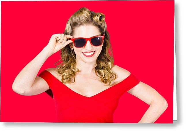 Funky Hip Pin-up Blonde In Summer Sunglasses Greeting Card by Jorgo Photography - Wall Art Gallery