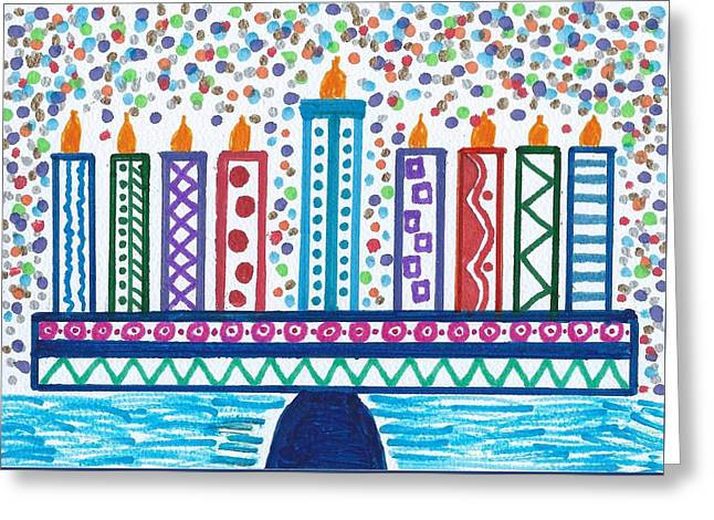 Funky Menorah  Greeting Card