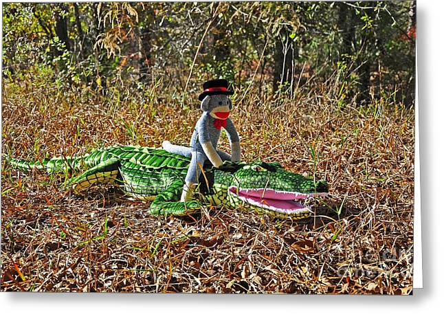 Greeting Card featuring the photograph Funky Monkey - Reptile Rider by Al Powell Photography USA
