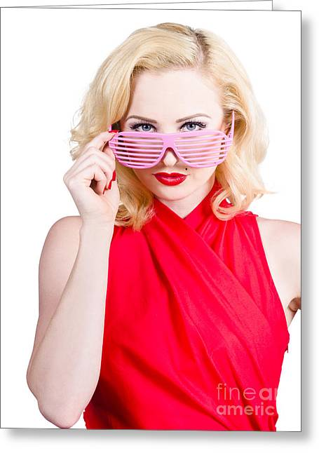 Funky Summer Fashion Portrait. Girl In Sunglasses Greeting Card