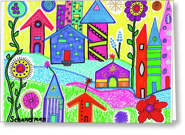 Funky Town 3 Greeting Card