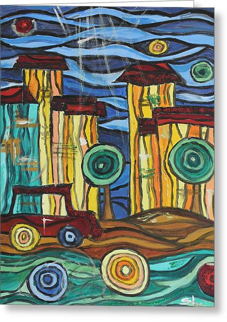 Greeting Card featuring the painting Funky Town by Sladjana Lazarevic
