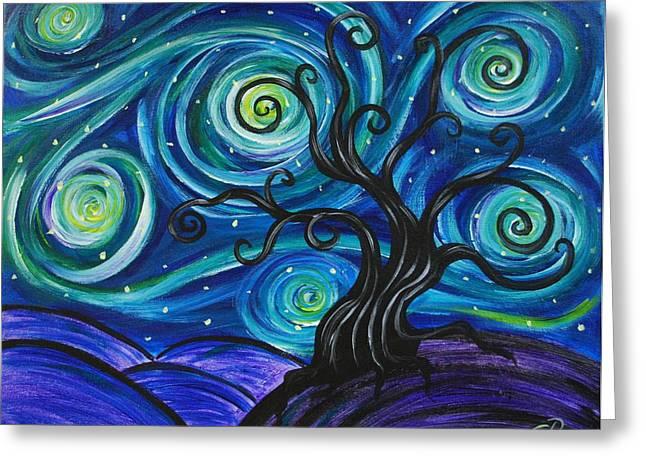 Funky Tree, Starry Night Greeting Card