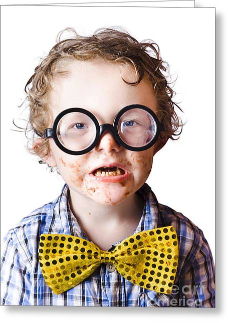 Funny Boy Covered In Chocolate Greeting Card