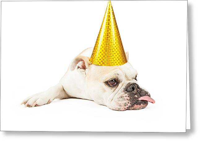 Funny Bulldog Wearing A Yellow Party Hat  Greeting Card by Susan Schmitz