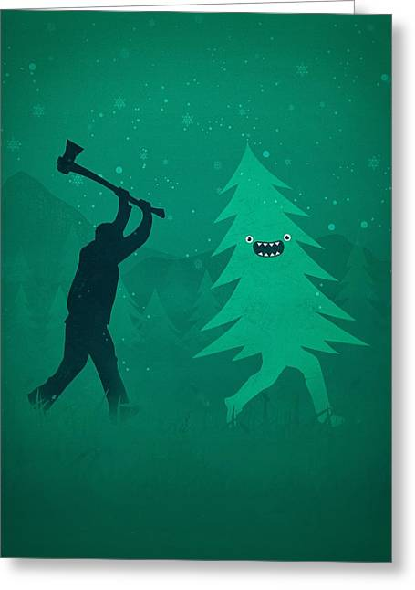 Funny Cartoon Christmas Tree Is Chased By Lumberjack Run Forrest Run Greeting Card