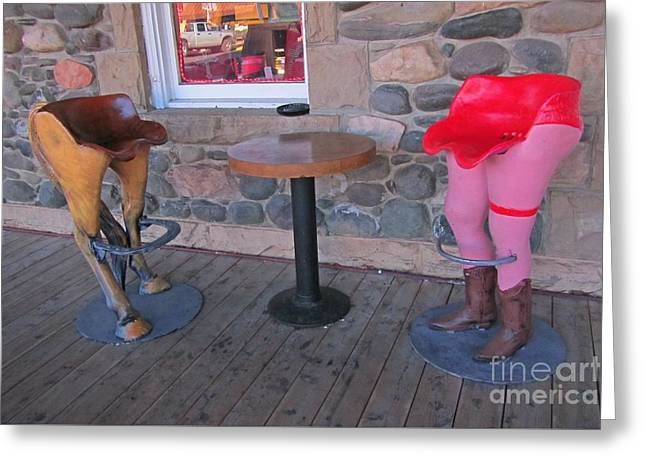 Funny Chairs At The Irma Hotel In Cody Wyoming Greeting Card by John Malone