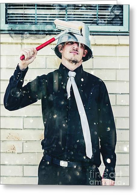 Funny Cleaner Man Ready For Action Greeting Card