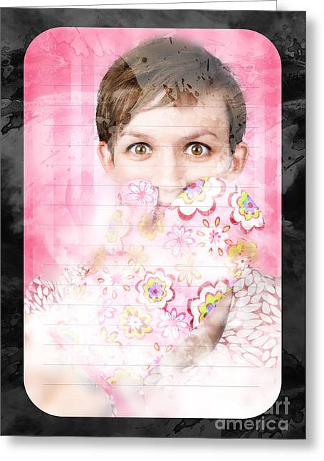 Funny Cooking Woman With Surprised Expression Greeting Card by Jorgo Photography - Wall Art Gallery