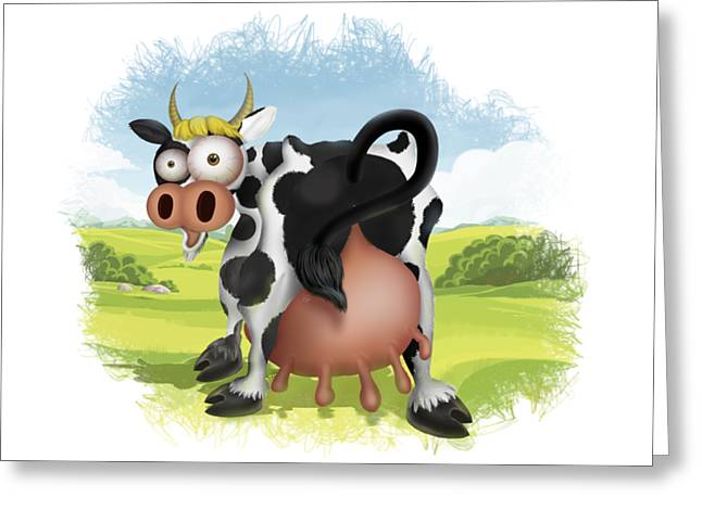 Greeting Card featuring the drawing Funny Cow by Julia Art