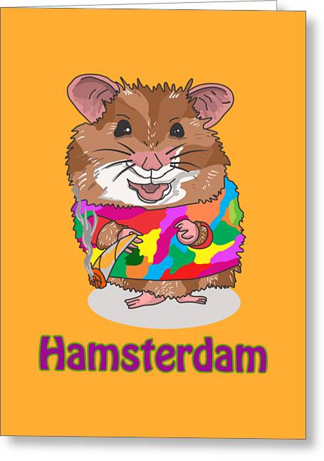 Funny Design Illustration Puns Hamsterdam The Wire Greeting Card by Paul Telling