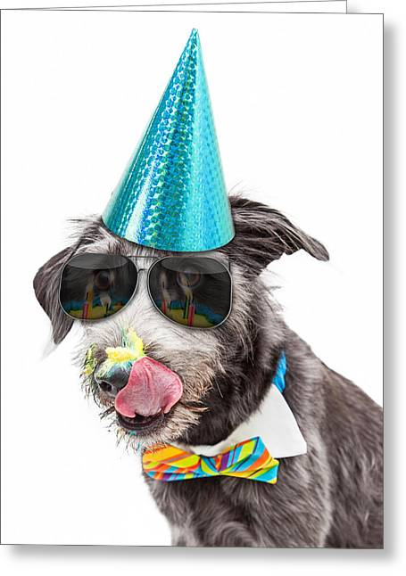 Funny Dog Eating Birthday Cake Greeting Card by Susan Schmitz