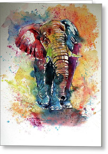 Greeting Card featuring the painting Funny Elephant by Kovacs Anna Brigitta