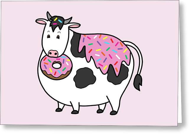 Funny Fat Holstein Cow Sprinkle Doughnut Greeting Card by Crista Forest