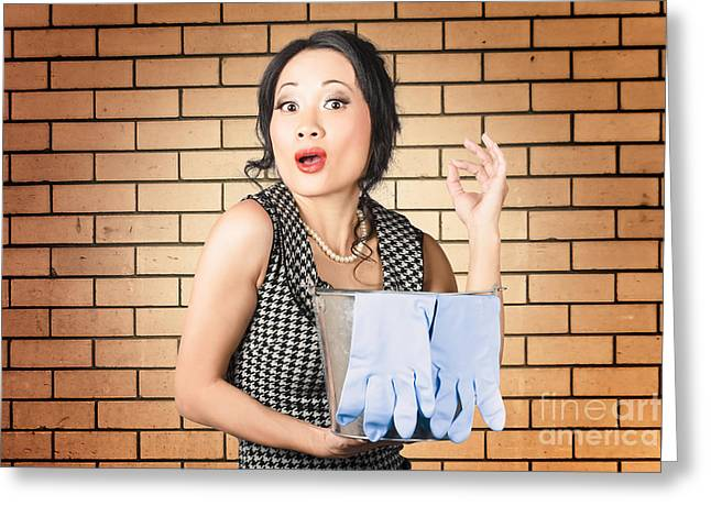 Funny Female Cleaner Giving Ok Hand Sign. Clean  Greeting Card