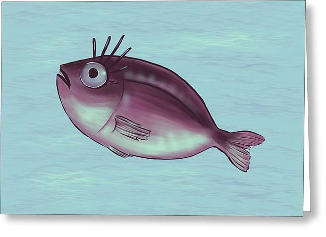 Funny Fish With Fancy Eyelashes Greeting Card