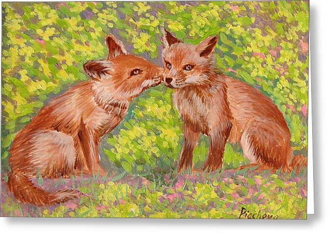 Funny Foxes .2007 Greeting Card by Natalia Piacheva