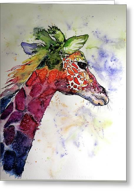 Funny Giraffe Greeting Card by Kovacs Anna Brigitta